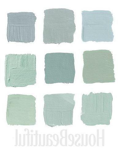 House Beautiful Designer Grays 3: Top Row, 1-Pratt & Lambert's Argent 1322, 2-Farrow & Ball's Light Blue 22, 3- Farrow & Ball's Green Blue 84 Middle Row, 1- Benjamin Moore's Cedar Grove 444, 2-Ralph Lauren Paint's Blue-Green GH81, 3-Benjamin Moore's Colony Green Bottom Row, 1-Benjamin Moore's Heavenly Blue, 2-Benjamin Moore's Palladian Blue HC-144, 3-Benjamin Moore's Sage Tint - indoorlyfe.com