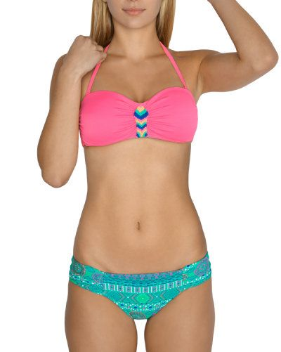 Bright pink Aztec Bandeau Bikini Top www.lavieenrose.com