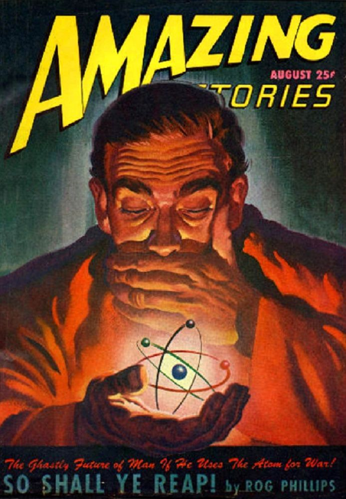 COMIC BOOK COVER POSTER vintage AMAZING STORIES head trip SCI-FI rare 24X36
