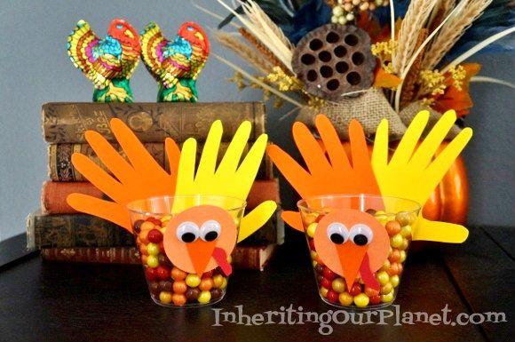 Thanksgiving Kids Craft - Hand Turkey Candy Dishes