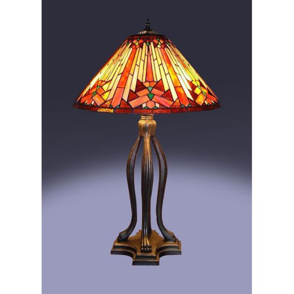 Tiffany Style Mesa Table Lamp Bronze