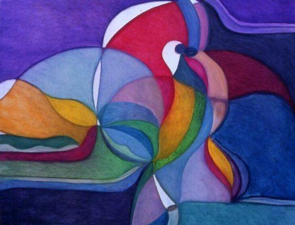 """Il bacio dei pavoni, gessetti ed olio di lino, 1 mt. x 90 cm., 1998  Poesia """"Soffio""""  http://visionipoetiche.com/2013/04/12/soffio/"""