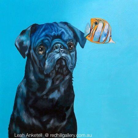 "Leah Anketell painting of dog ""Black & Blue"" Red Hill Gallery, Brisbane. redhillgallery.com.au"