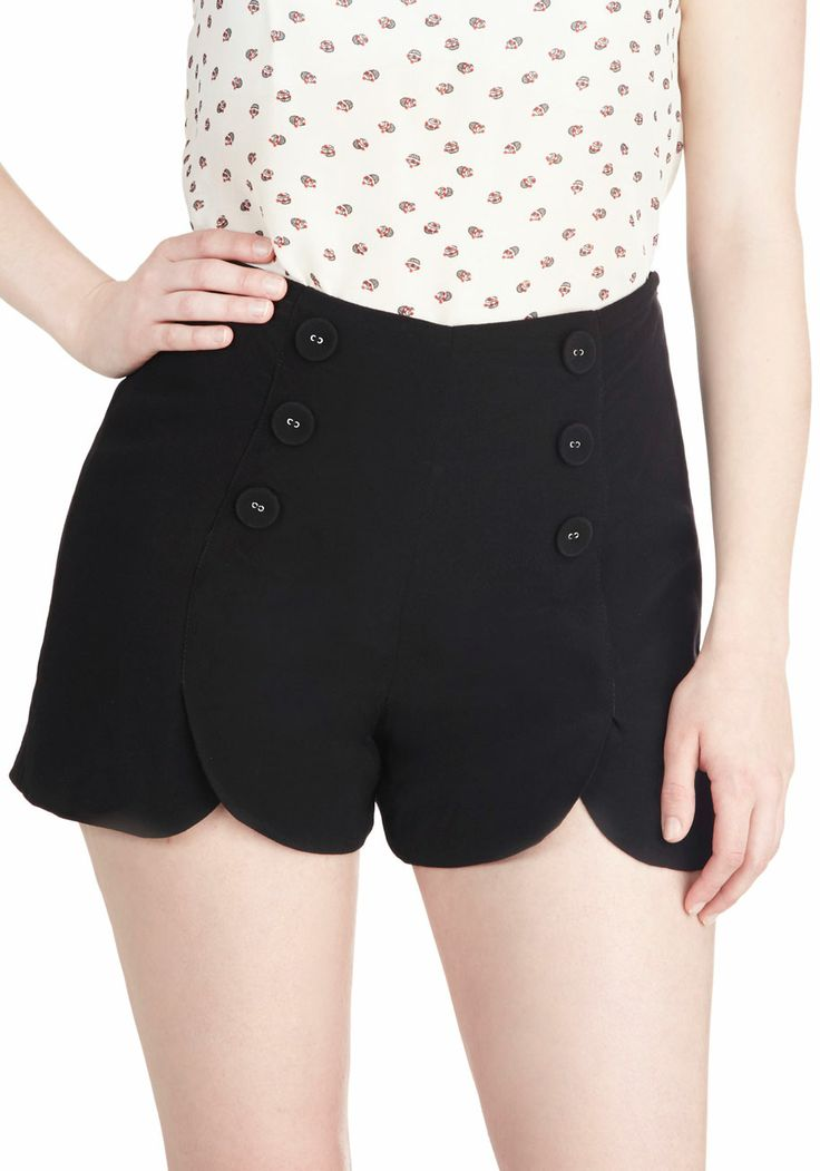 Sailor Squad Shorts in Black, #ModCloth love the tulip hem and vintage 50's / retro vibe with the buttons!