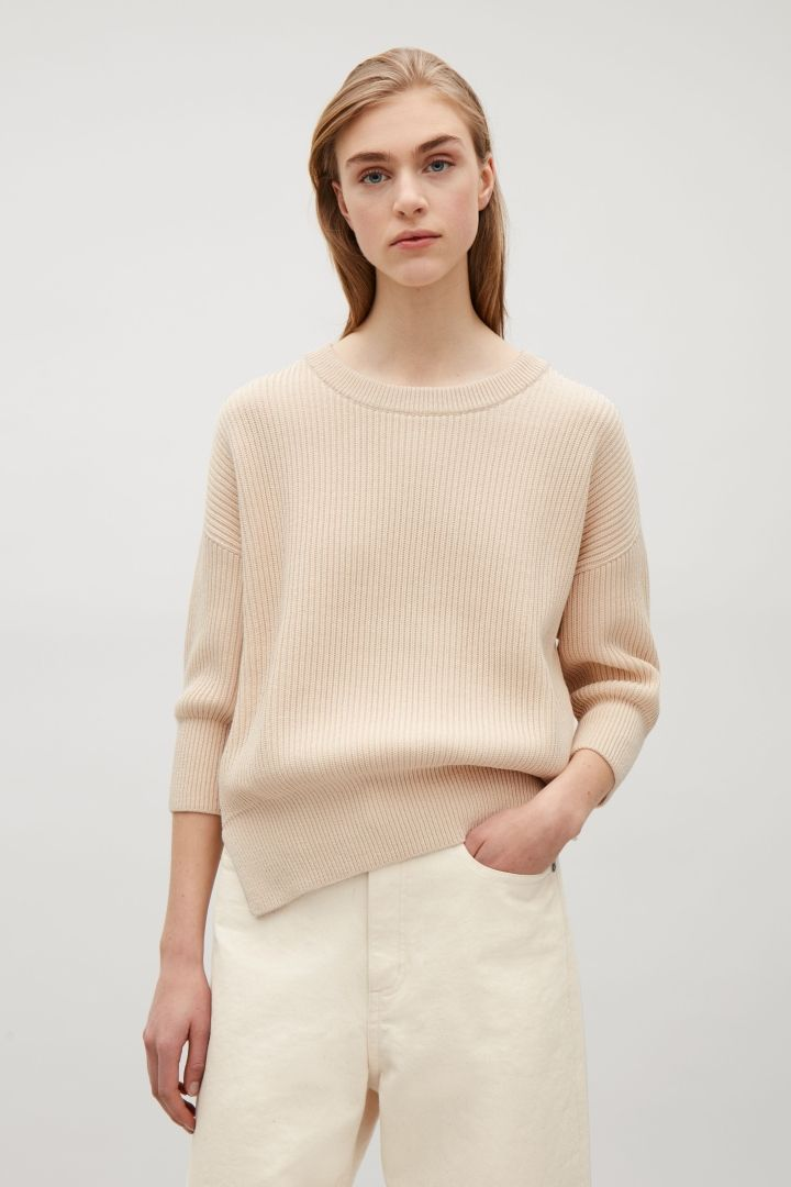 COS Chunky 3/4-sleeve jumper in Biscuit