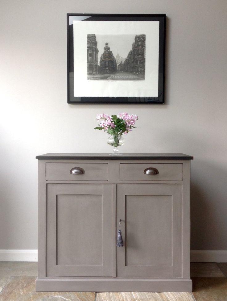 antique vintage annie sloan french linen graphite grey painted cupboard sideboard side cabinet. Black Bedroom Furniture Sets. Home Design Ideas