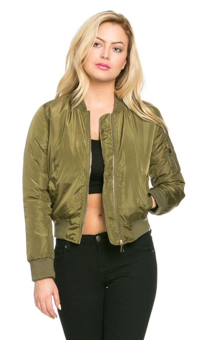 Classic Flight Bomber Jacket In Olive Green Plus Sizes Available