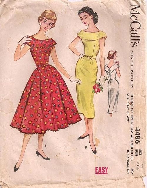 Vintage sewing pattern: 1950s rockabilly dress with full or pencil skirt