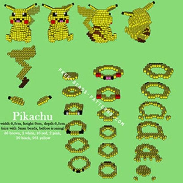 3D Pikachu perler pattern by freebeadspatter