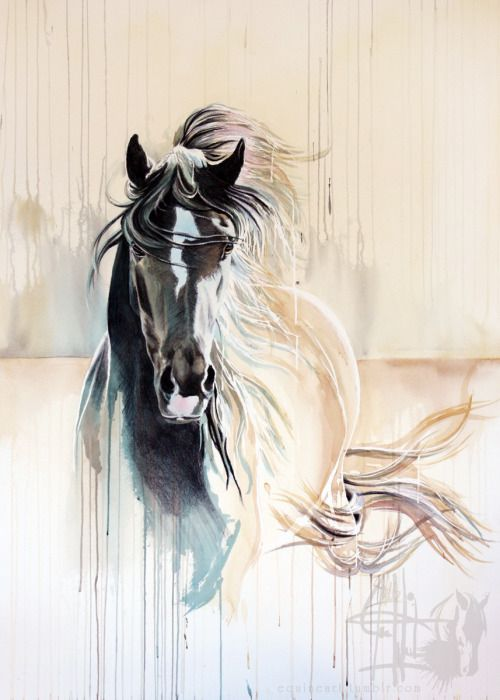 """equineart: """"November Wind"""" 41x30"""" Mixed media on wrapped paper"""