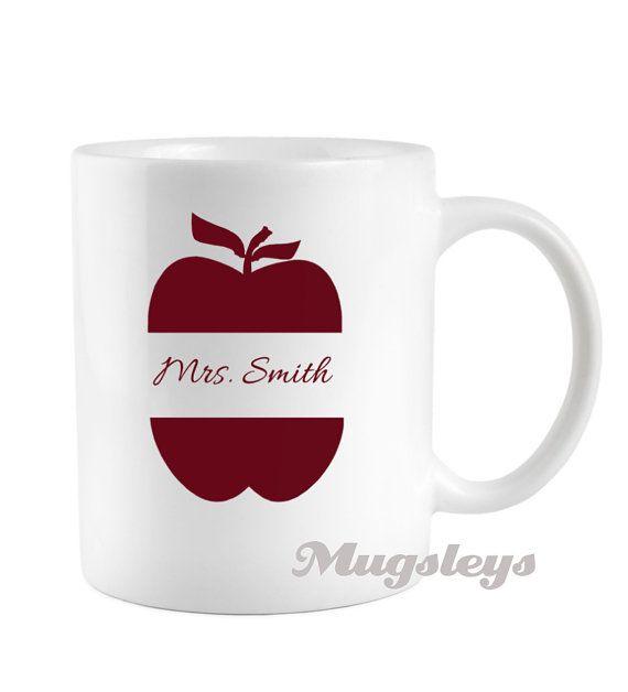 Teachers Mug Apple monogram coffee cup gift