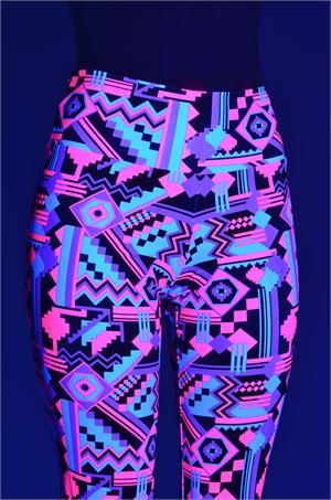 Neon Pink & Black Aztec Print Leggings