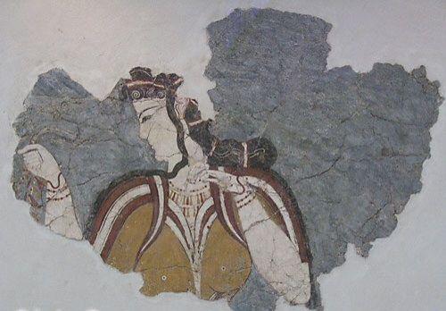 Affresco raffigurante signora micenea, circa 1300 a.c. da Micene. Atene, Museo archeologico nazionale