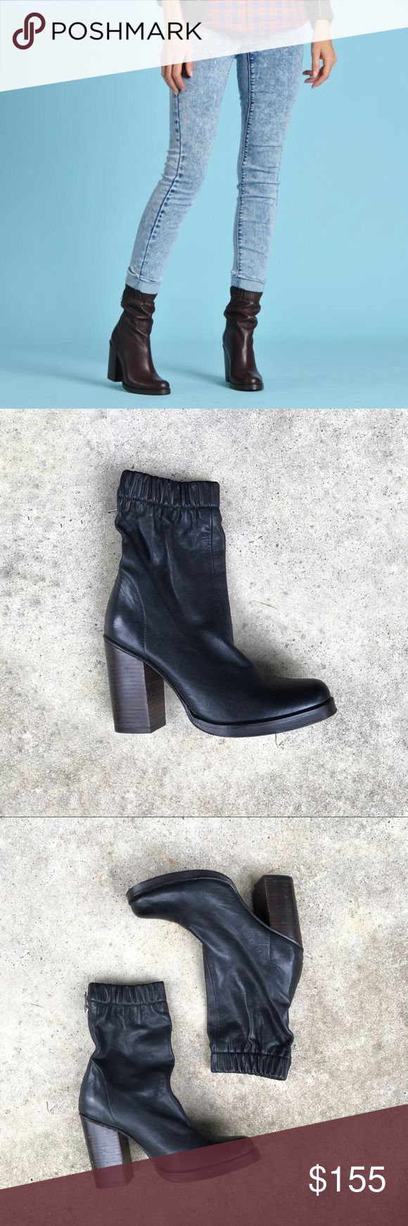 """Opening Ceremony Boots Opening Ceremony 'Lucie' mid boots. These have an elastic top and back zipper. 4"""" block heel. Black leather. Size 37.  A few scuffs on the heels, overall excellent condition. Opening Ceremony Shoes Heeled Boots"""