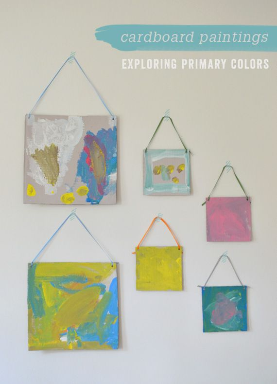 Last week I made some cardboard canvases for my 3-yr old class. They were totally digging the format and each of them painted two or three or more paintings. I