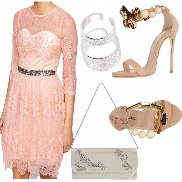 Vestito in pizzo rosa e cintura di strass per il matrimonio della mia amica Clo, abbinato ad un paio di sandali gioiello in tinta con il vetrito e con tacco stiletto.