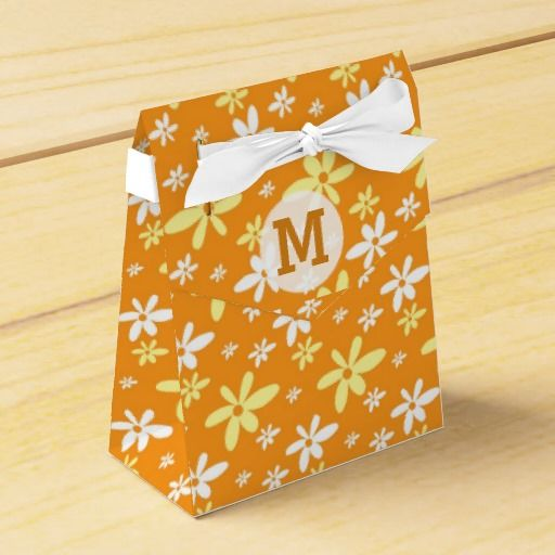 Modern floral pattern favor boxes:Orange #Monogram #party #favorboxes for a trendy thank you gift.