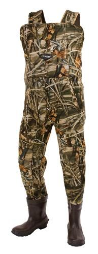 Amphib™ Camo Neoprene Bootfoot Wader - Cleated   Starting at: $159.95  You're not going to duck hunt for long if you're not comfortable. A good pair of duck hunting waders should keep you warm and dry; even in extreme conditions. The Amphib Camo bib-style wader is designed to keep you in the field. When you need more than just waterproof protection in your waders, neoprene does more than double duty.