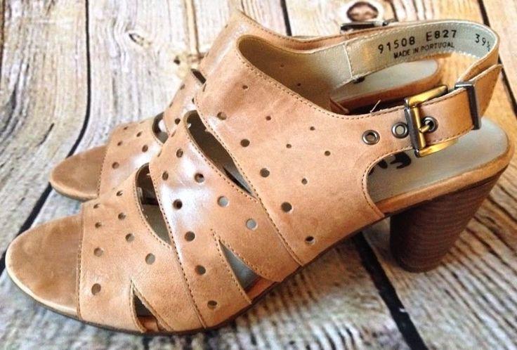 Fidji Stacked Heel Slingback Buckle Sandal 39.5 / US 8 M Brown Leather Portugal  #Fidji #OpenToe #StackedHeel #Sandals #Leather #Heels