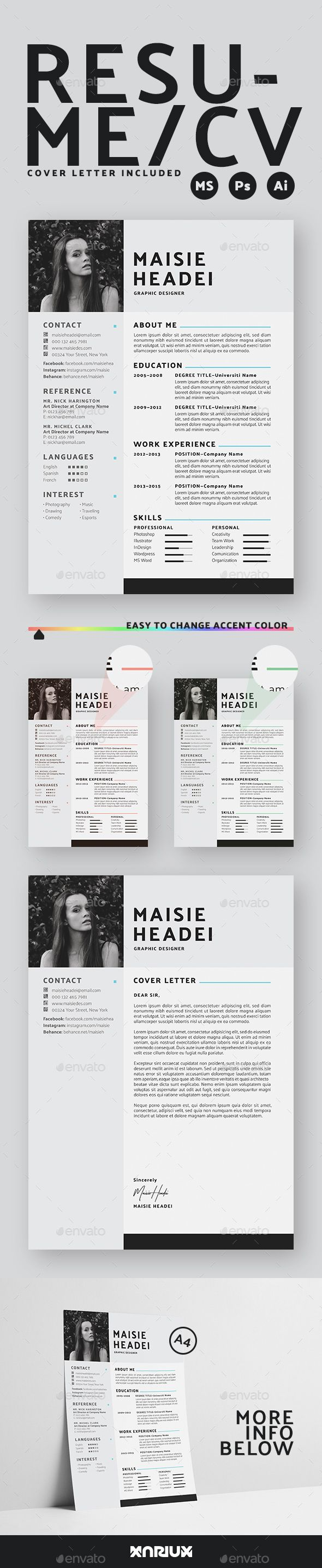 Resume Template PSD, AI, EPS, MS Word