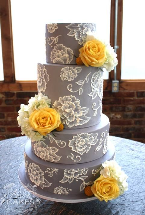Lexie :) Grey and Yellow Wedding Cake | Avalon Cakes                                                                                                                                                      More