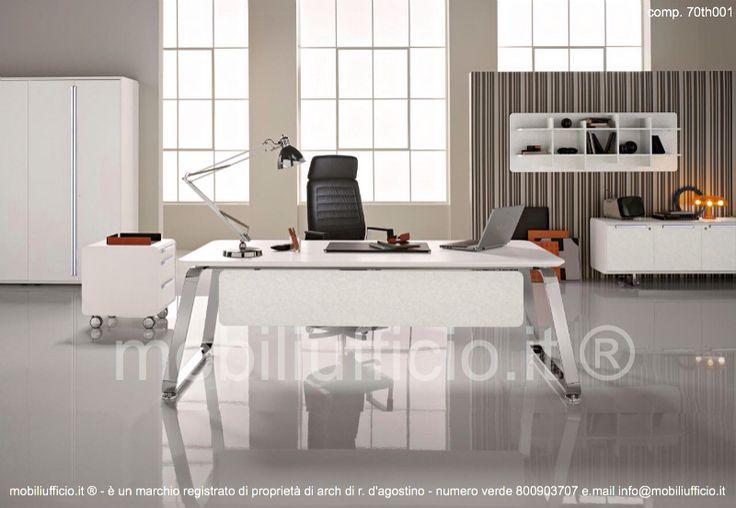 comp. 70th001- arredamento per ufficio direzionale con #scrivania, #cassettiera, #madia bassa, #libreria a muro e mobile #archivio alto.