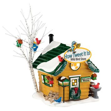 Welcome to The Original Snow Village from Department 56 - from Department 56 - Built with the same traditions and values found in small towns across America. How Tweet It Is! Wild Bird Store, hand-crafted and hand-painted ceramic lit building. Includes light cord and bulb.  5.31in H x 4.53in W x 5.31in L