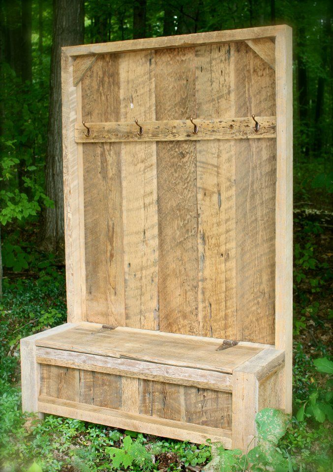 Entryway bench with seat storage By Barn Good Furniture   Love Love Love   Barn wood furniture