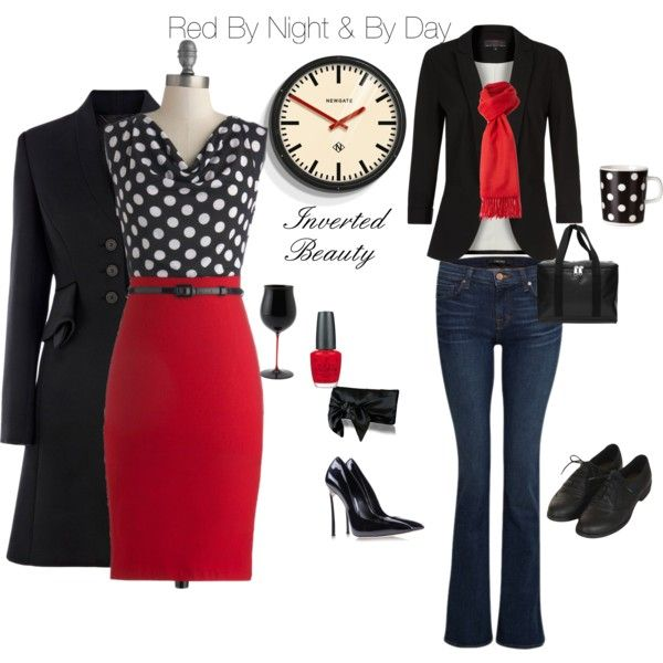 """This collection is for the everyday woman who is drawn to the color red. This is an example of how to wear Red By Night and By Day. Each piece was specifically chosen to flatter The Inverted Triangle Figure...Broad shoulders, large breast & Undefined waist! """"Red By Night and By Day"""" by angela-yourpersonality on Polyvore"""