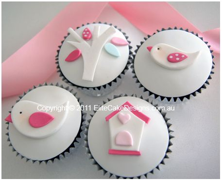 White Birdie Christening-Baby Shower cupcakes by Elite Cake Designs