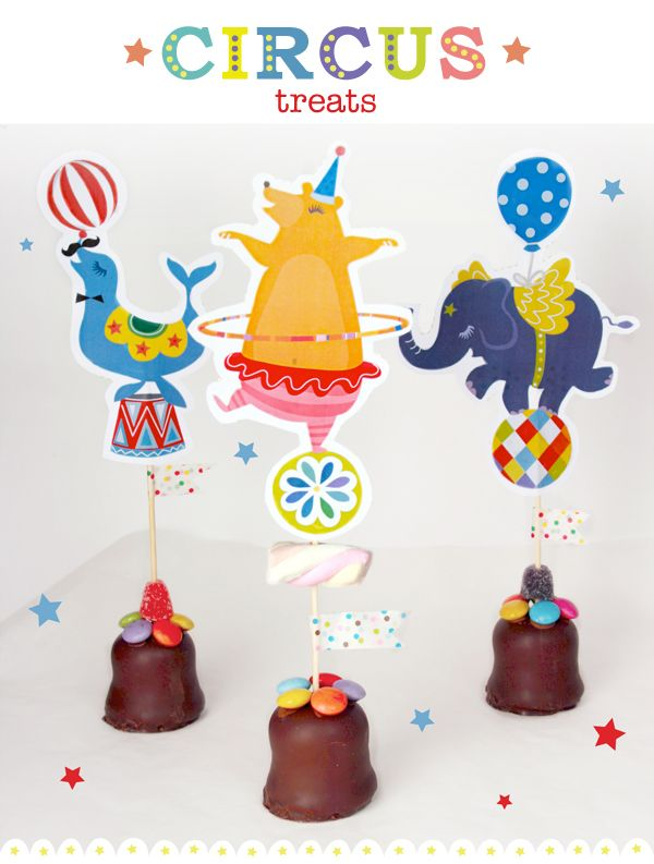 FREE printable circus party cupcake toppers for kids |  Moodkids