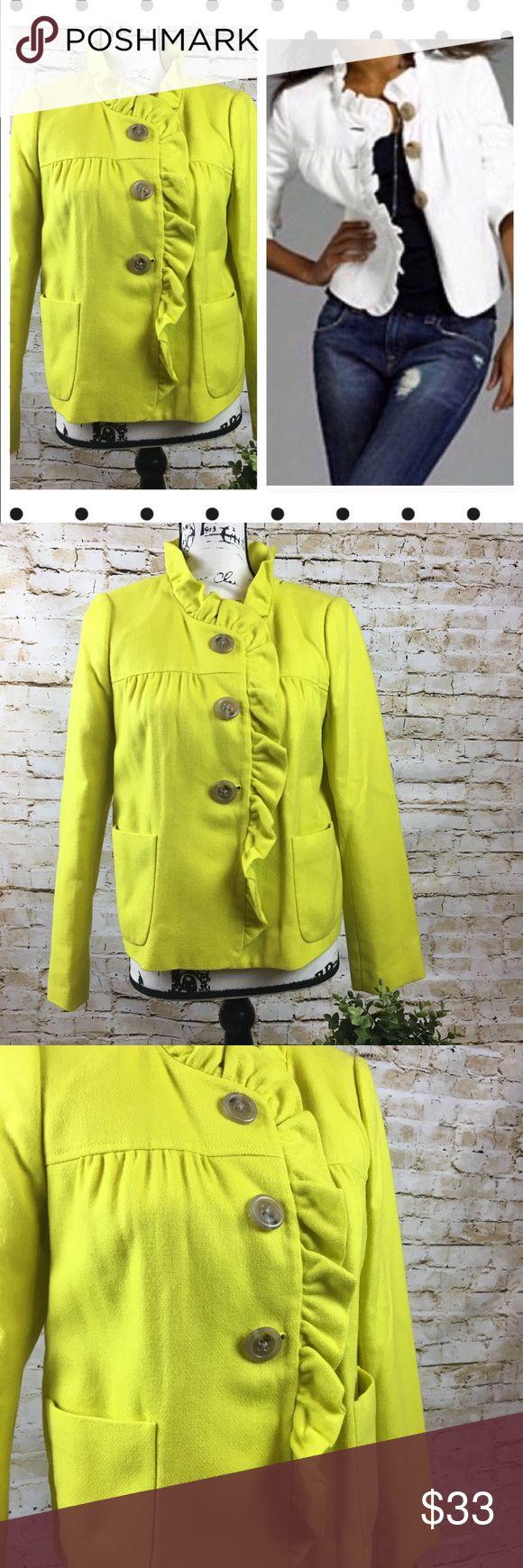 J Crew Fiona Herringbone Jacket Yellow sz 6 Like new J. Crew Jackets & Coats Blazers