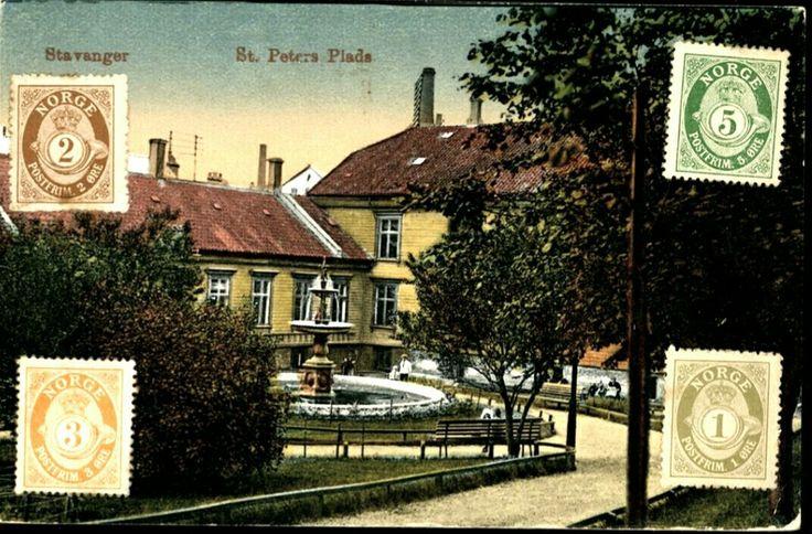 Rogaland fylke Stavanger  Kolorert. St. Peters Plads. Fint nærmotiv av bygning. 4 frimerker pålimt forsiden. Brukt 1921. Utg B. Oppi
