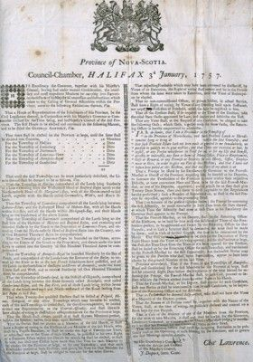 image of the original Proclamation issued by Nova Scotia Governor Lawrence in January 1757.