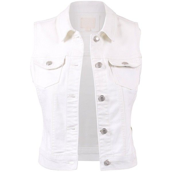 BEKDO Womens Basic Solid Denim Vest ($30) ❤ liked on Polyvore featuring outerwear, vests, white vest, vest waistcoat, denim vests, white denim vest and denim waistcoat