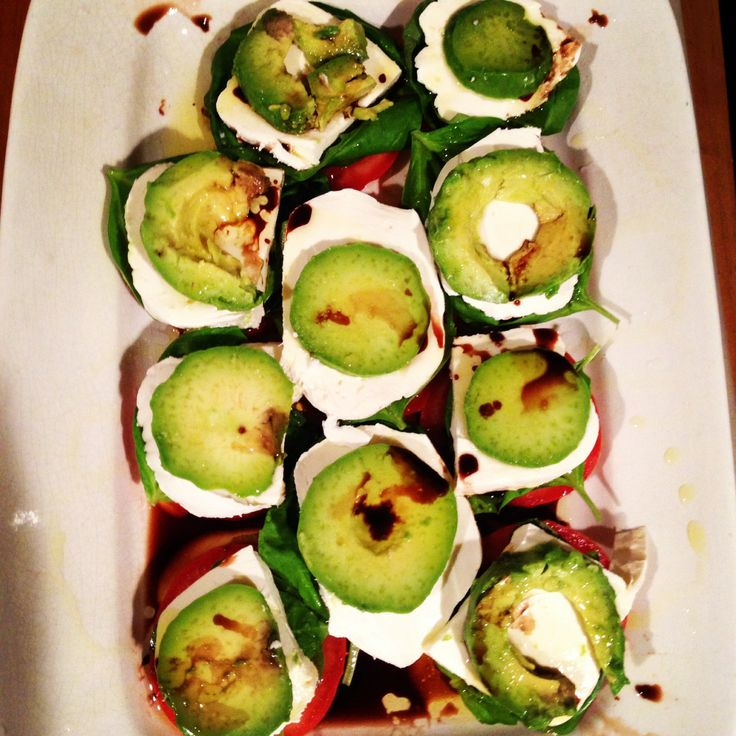 Basil, tomato, mozzarella & avocado