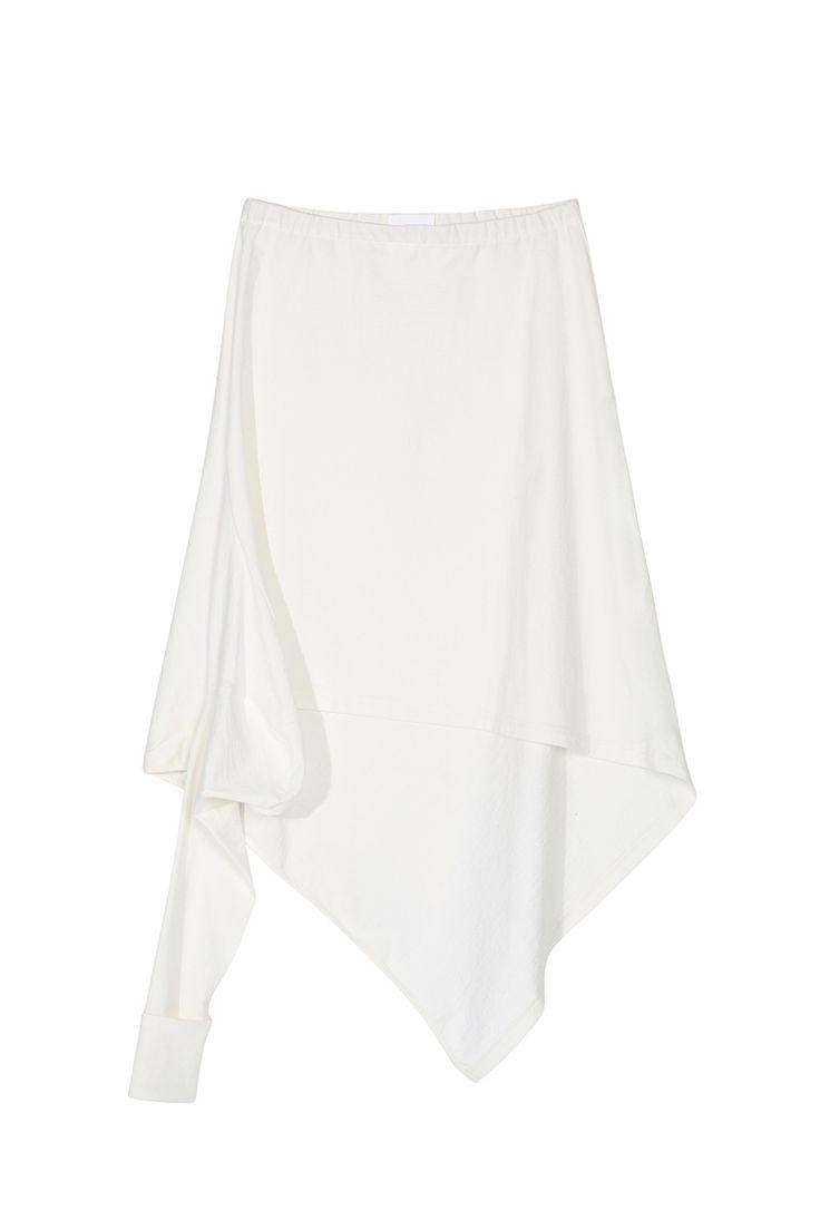 <p>Ecru Japanese Cotton Jersey</p><p>Japanese cotton jersey skirt, elastic waistband and deconstructed drape ...