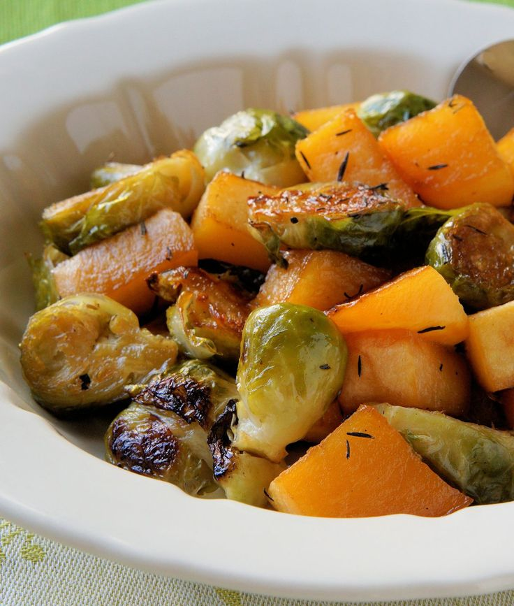 Maple Roasted Rutabaga and Brussels Sprouts. http://www.cautiousvegetarian.ca/recipe/maple-roasted-rutabaga-brussels/