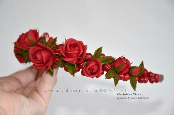Венки, ободки, обручи, заколки, кольца, подвески с цветами