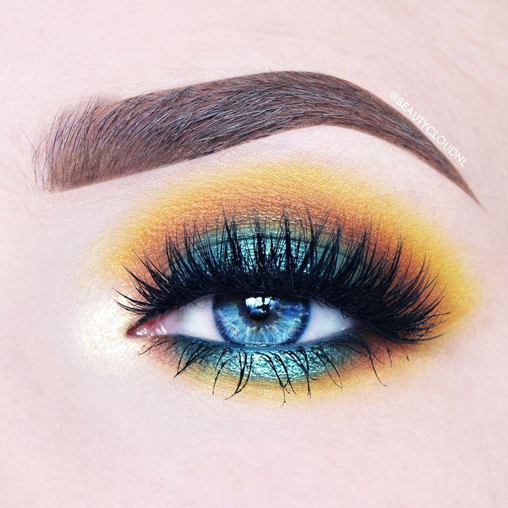 Makeup Geek Duochrome Eyeshadow in Voltage + Makeup Geek Eyeshadows in Cocoa Bear, Lemon Drop and Shark Bait + Makeup Geek Full Spectrum Eye Liner Pencils in Obsidian and Ocean. Look by: BeautyCloudNL