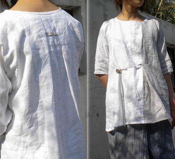 025---Two Tone Woman Linen Zen Blouse, Kimono Sleeve, Half Sleeve Top. on Etsy, $68.18 AUD