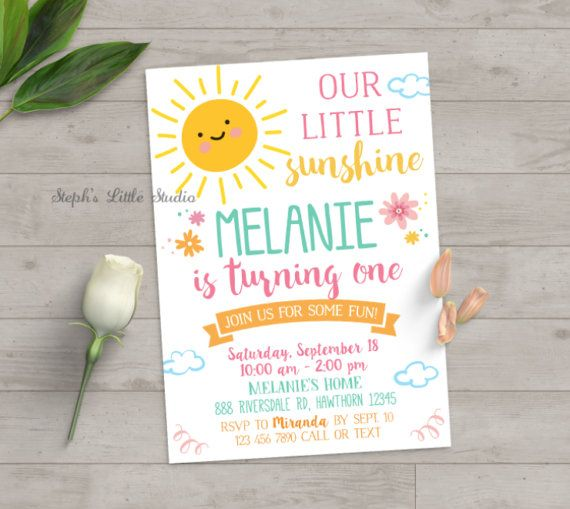 you are my sunshine invitation, you are my sunshine birthday invitation, sunshine invitation, girl birthday, first birthday, summer, spring by StephsLittleStudio