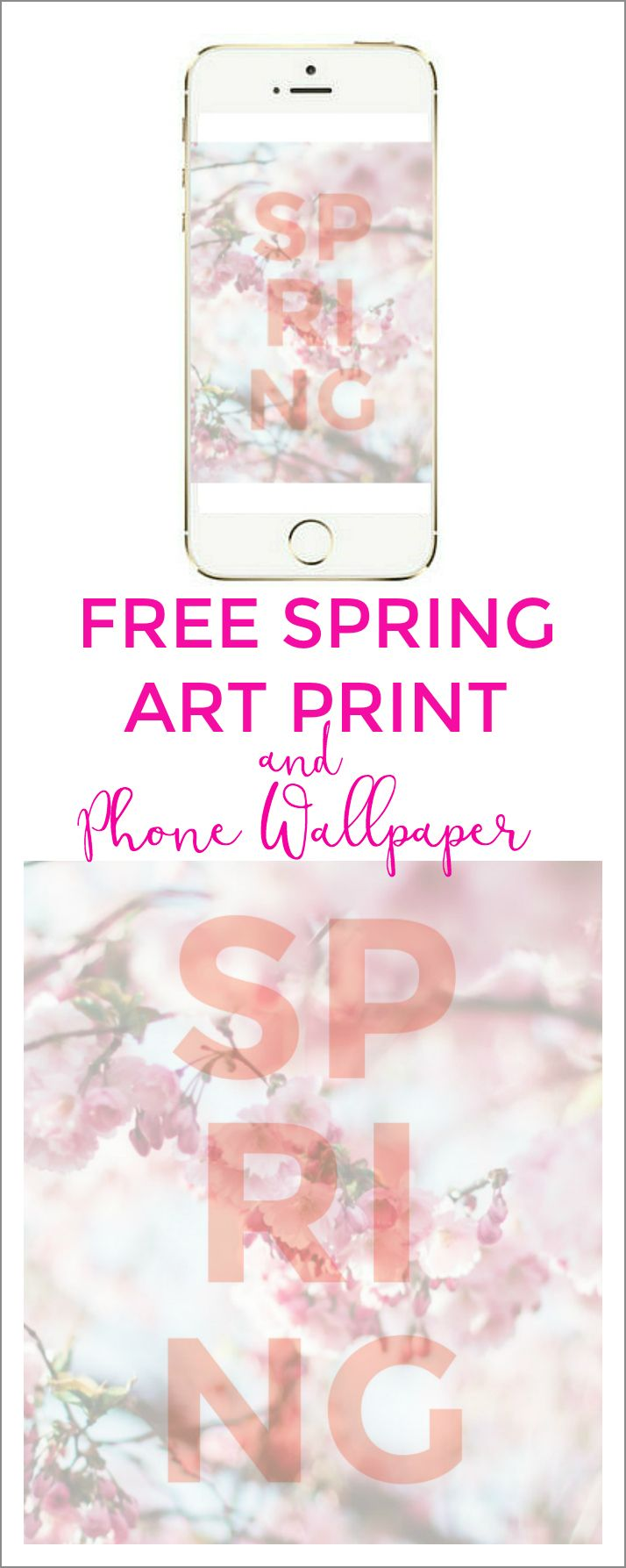 FREE Spring floral art printable and phone wallpaper! You can print it and frame it for your art gallery wall and also use it for your phone and iPad wallpaper!