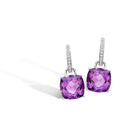 Kiki McDonough 'Eternal' Amethyst Cushion and Diamond Earrings
