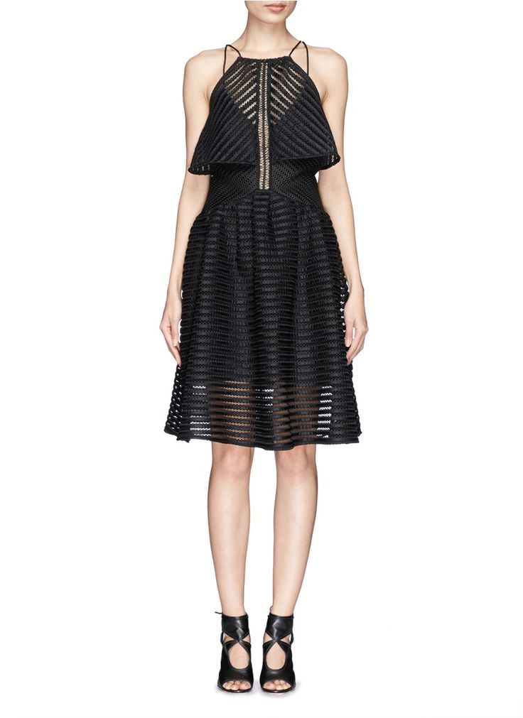 SELF PORTRAIT Stripe mesh overlay flare dress
