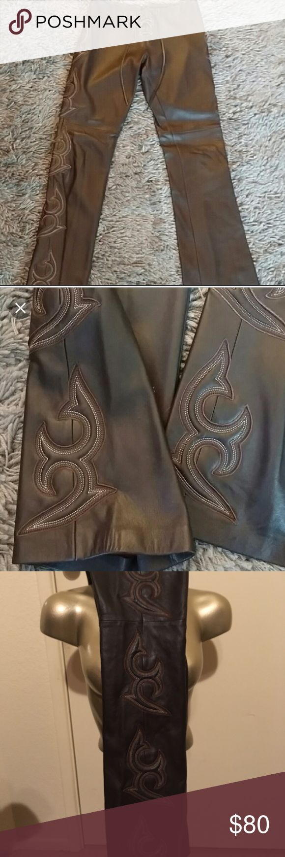 Bebe brown lamb skin tribal leather pants 0 XS Very good condition.  One mark small mark on the leather-see pics, could be hemmed again.  Size 0.  Low rise.  Zip back, lace up front.  Like brands seen in nasty gal, dolls kill bebe Pants Boot Cut & Flare