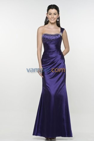 Imposing Purple One Shoulder Sequin Prom Dress Lace Up Back