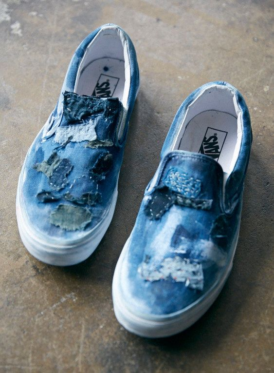 Vans Slip on shoes with natural indigo and Boro by Rigg, $128.00
