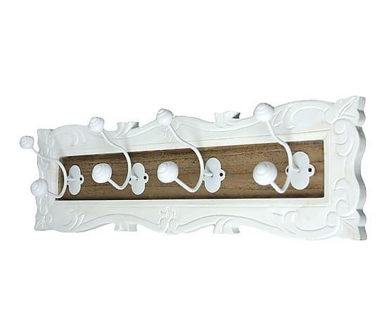 Perchero de pared en madera de paulonia y metal con 4 for Percheros de metal
