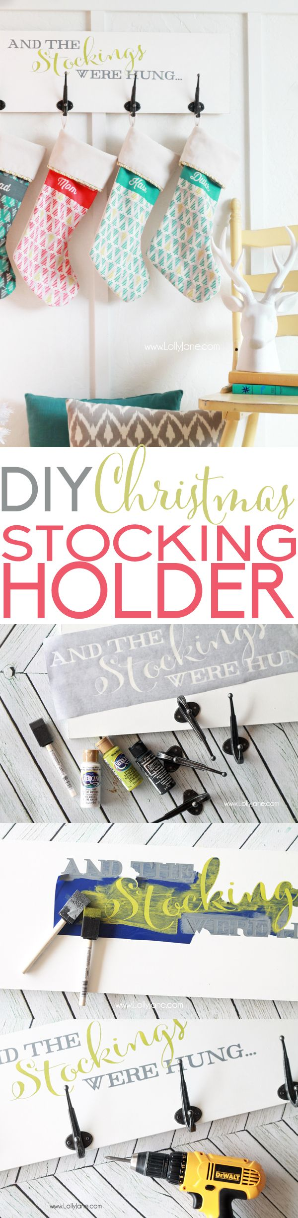 Easy DIY Christmas Stocking Holder Board, perfect for fireplace mantle-less spaces!